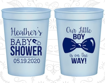 Custom Baby Shower Plastic Cups, Baby Shower Favors, It's a Boy Cups, Our Little Boy is on the way (C90005)