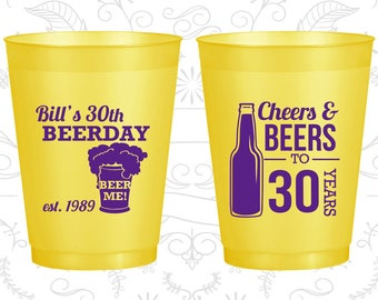 30th Birthday Frosted Cups, Beer Me, Cheers and Beers, Cheers to 30 Years, Frosted Birthday Cups (20215)
