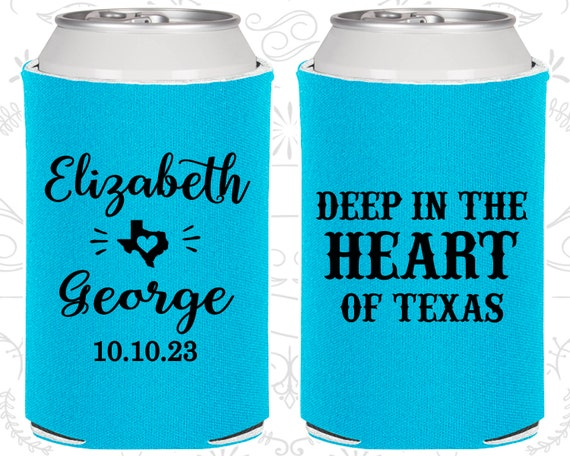 Texas Gifts 237 Wedding Party Favors Deep in the Heart of Texas Wedding Beer Can Coolers Texas Wedding Favors