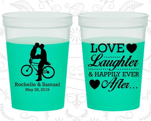Love Laughter, Printed Mood Stadium Cups, Bicycle, Love Wedding, Romantic Wedding, Green Mood Cups (376)
