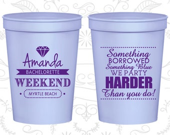 Bachelorette Weekend Party, Bachelorette Party Cups, Something Borrowed, Something Blue, Bachelorette Cups (60131)