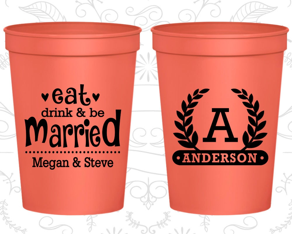 Eat Drink and Be Married Wedding Cups Imprinted Drink Cups | Etsy