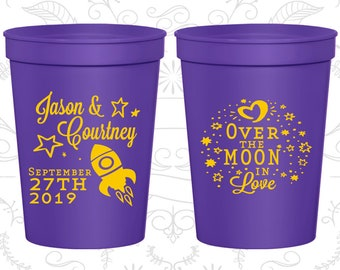 Over the Moon in Love, Promotional Beer Cups, Spaceship Cups, Moon Wedding Cups, Wedding Cups (267)