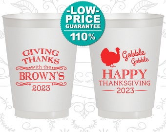 Thanksgiving Frosted Cups, Thanksgiving Favors, Custom Thanksgiving, Happy Thanksgiving, Gobble Gobble (260022)