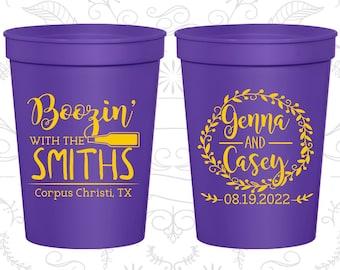 Boozin, Printed Beer Cups,Printed Beer Cups, Floral Wedding, Country Wedding Cups, Wedding Cups (546)