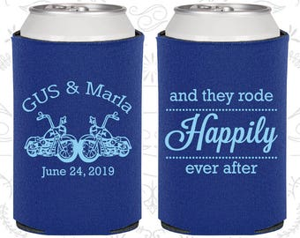 And They Rode Happily ever After, Wedding Favors, Motorcycles, Motorcycle Wedding Favors, Cheap Wedding Coolies (200)