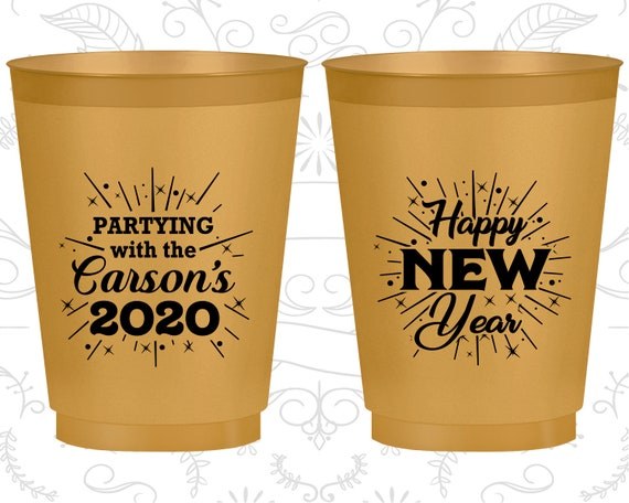 new years frosted cups new years eve party favors new years eve gifts happy new year 170020. Black Bedroom Furniture Sets. Home Design Ideas