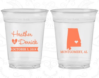 Alabama Wedding, Soft Sided Cups, Destination Wedding, State Wedding, Clear Cups (100)