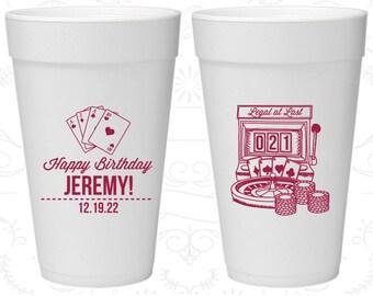 21st Birthday Styrofoam Cups, Vegas Birthday, Legal at Last, Birthday Foam Cups (20063)