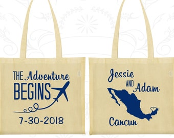 The Adventure Begins, Personalized Large Tote Bags, Plane, Mexico Wedding Bags, Tote Bag Canvas (275)