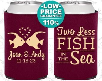Wedding Gift, Fisherman Wedding Gift, Two Less Fish in the Sea Wedding Gift, Personalized Wedding Favors, Wedding Can Cooler (C533)