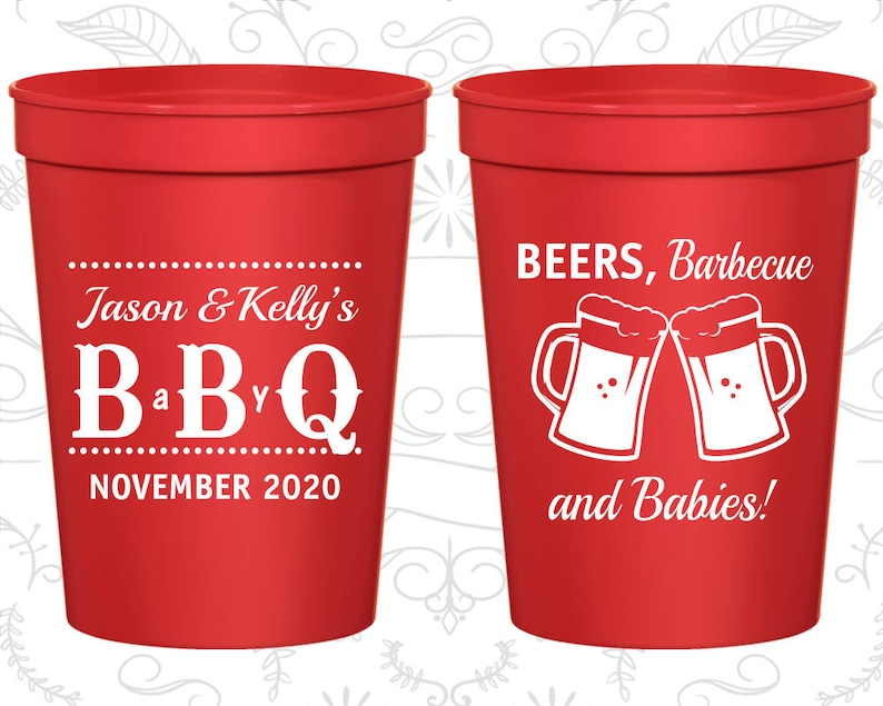 acf47a2134d BBQ Baby Shower Cups Personalized Baby Shower Stadium Cups   Etsy