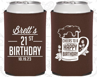 21st Birthday, 21st Birthday Party, Cheers to a Happy Birthday, Birthday Can Coolers, Birthday Coolies (20005)