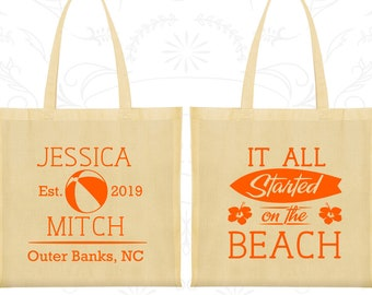 It all started on the beach Bags, Printed Wedding Bags, Beach Wedding Bags, Tropical Wedding, Welcome Tote Bags (416)