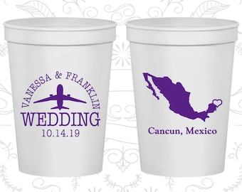 Mexico Wedding Cups, Mexico Wedding, Imprinted Cups, Destination Wedding, Plastic Beer Cups, Cancun Cups (184)