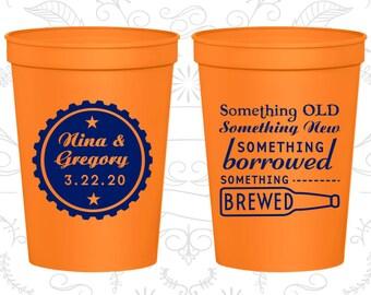 Something Old Cups, Something New Cups, Something Borrowed, Something Brewed, Personalized Beer Cups, Beer Bottle, Wedding Cups (265)