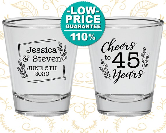 Anniversary Shot Glass 45th Wedding Party Favors Gift Ideas Sapphire Parents 80026 By My Wedding Store Catch My Party