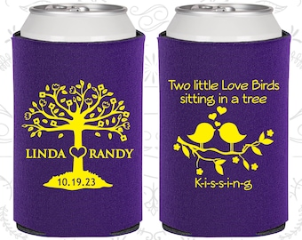 Two little love birds sitting in a tree Kissing, Wedding Items, Love Tree, Love Birds Wedding Favors, Wedding Party Can Coolers (249)