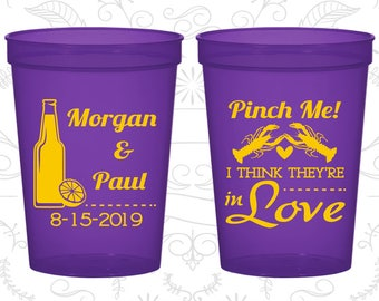 Pinch Me, I think they are in Love, Promotional Beer Cups, Cajun Cups, Crawfish Boil Party Cups, Wedding Cups (337)