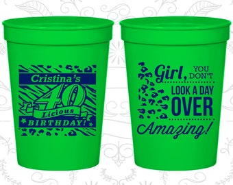 40th Birthday Party Cups, Promotional Birthday Stadium Cups, 40 and Amazing, Not a day over Amazing, Birthday Party Cups (20224)