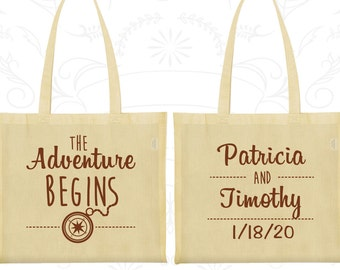 The Adventure Begins, Wedding Favor Shopping Tote Bags, Compass, Destination Bags, Personalized Tote (289)