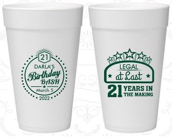 21st Birthday Styrofoam Cups, Legal at Last, Birthday Bash, Birthday Foam Cups (20167)