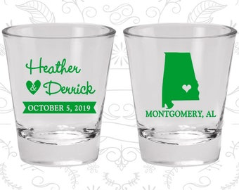 Alabama Wedding Shot Glasses, Shot Glasses, Destination Wedding Shot Glasses, State Wedding Shot Glasses, Wedding Favor Shot (100)