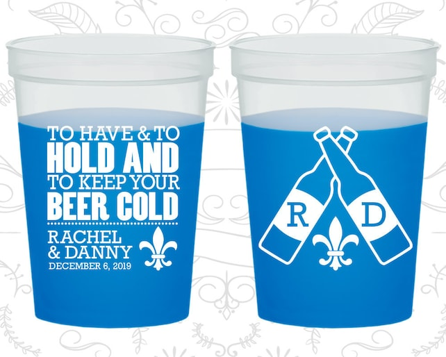 To Have and To Hold, Plastic Mood Cups, Fleur De Lis Wedding, Nola Wedding, Blue Mood Cups (430)