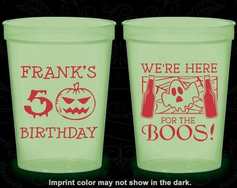 50th Birthday Glow in the Dark Cups, Pumpkin Birthday, Halloween Birthday, Ghost Birthday, Glow Birthday Party (20292)