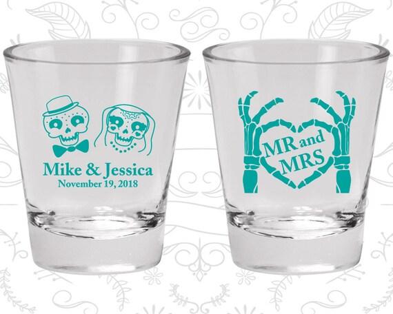 Mr and Mrs, Printed Shot Glasses, Candy Skull Shot Glasses, Dia De Los Muertos Wedding Shot Glasses, Wedding Favor Shot (206)
