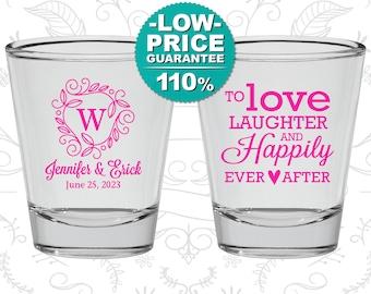 Wedding Shot Glasses, Custom Shot Glasses, Love Laughter Happily Ever After, Wedding Favors, Personalized Glassware, Custom Shot Glass (C61)