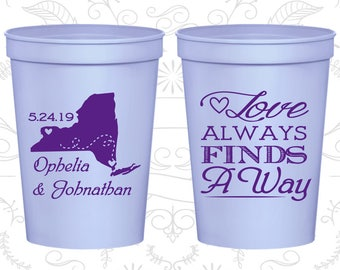 Love Always find a way, Custom Beer Cups, State to State Cups, State Cups, Destination Cups, Wedding Cups (472)