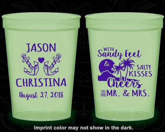 Cheers to Mr and Mrs Plastic Cups Stadium Cups 290 With Sandy Feet and Salty Kisses Anchor Cups Nautical Wedding Beach Cups