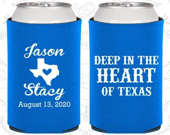 Deep in the Heart of Texas, Personalized Gift, Texas Wedding Gift, Texas Gifts, Wedding Can Cooler (214)