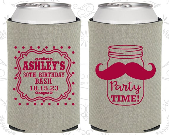 30th Birthday Favors Adult Party Gifts Mason Jar Rustic Mustache 20281