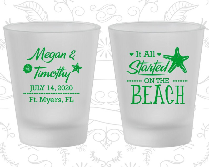 It all started on the beach Starfish Wedding Customized Frosted Shot Glass Beach Wedding Frosted Glasses 413