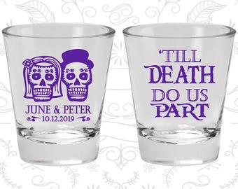 Till Death Do Us Part Shot Glasses, Sugar Skull Shot Glasses, Cheap Glass, Day of the Dead Shot Glasses, Candy Skull Shot Glasses (41)