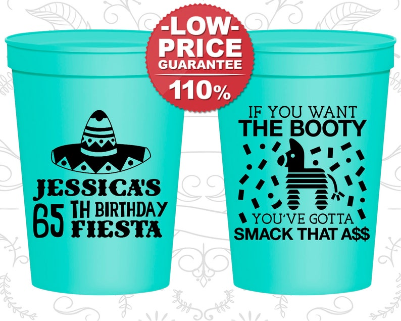 65th Birthday Party Cups Personalized Custom