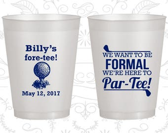 40th Birthday Frosted Cups, Fore Tee Birthday, Golf Birthday, Frosted Birthday Cups (20134)