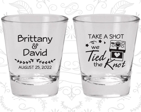 Custom Personalized Tied The Knot Black Wedding Favor Shot Glasses