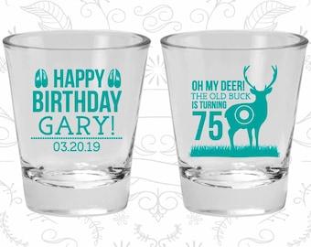 75th Birthday Shot Glasses, Personalized Birthday Glasses, Hunting Birthday, Deer Birthday, Birthday Shot Glasses (20278)