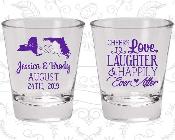 Cheers to Love Laughter Shot Glasses, Wedding Favor Glasses, State to State Wedding Shot Glasses, State Shot Glasses (329)