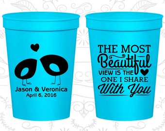 The Most Beautiful View is the One I share with you, Beer Cups, Romantic Wedding, Southern Wedding Cups, Wedding Cups (540)