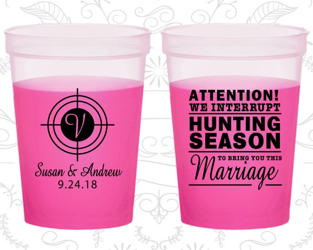 We interrupt Hunting Season to Bring you this Marriage, Promotional Mood Cups, Hunting Wedding, Magenta Mood Cups (317)