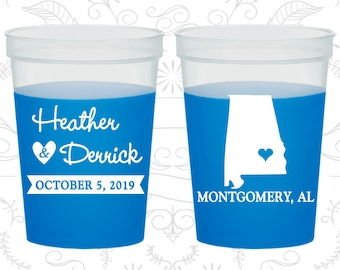 Alabama Wedding, Color Changing Cups, Destination Wedding, State Wedding, Blue Mood Cups (100)