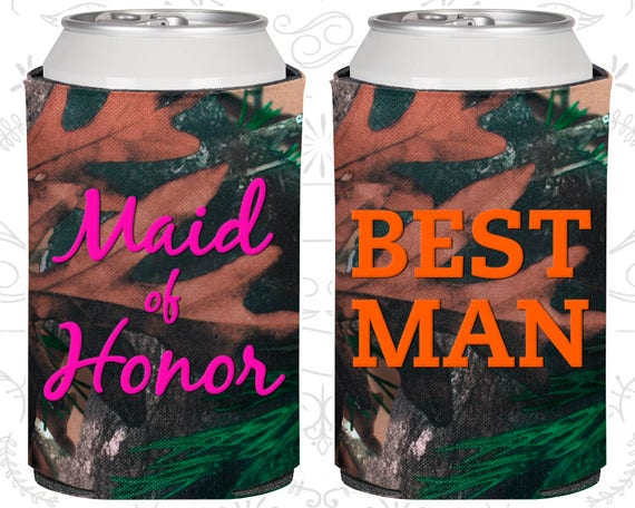 NEW Maid of Honor /& Best Man Wedding Can Coolers Koozies