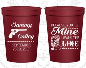 Because You are mine, I walked the line, Imprinted Beer Cups, Western Wedding Cups, Cowboy Boots, Wedding Cups (474)