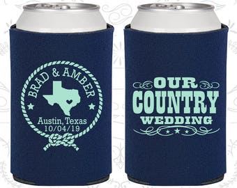 Our Country Wedding Favors, Personalized Wedding, Texas Wedding Favor, Country Rustic Wedding, Rustic Wedding Favors, Cheap Coolies (24)