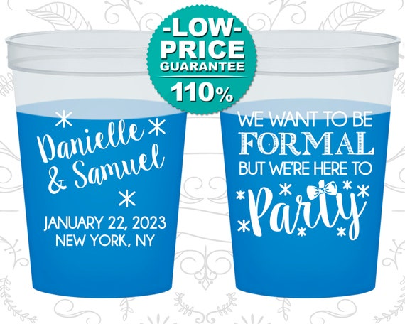 We want to be Formal, But we are here to Party, Personalized Mood Cups, Wedding Party, Blue Mood Cups (C365)