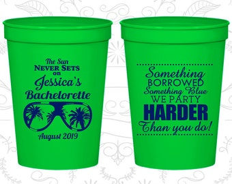 Something borrowed, something blue, we party harder than you do, Bachelorette Party Cup Custom, Beach Bachelorette Cups (60132)